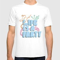 Life Is A Party Mens Fitted Tee White SMALL
