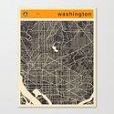 WASHINGTON MAP Canvas Print