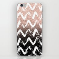 Modern faux rose gold glitter black marble chevron iPhone & iPod Skin