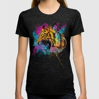 Angry Tiger Womens Fitted Tee Tri-Black SMALL