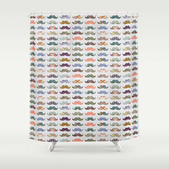 Mustache Mania Shower Curtain