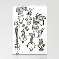 Clay Faces Stationery Cards