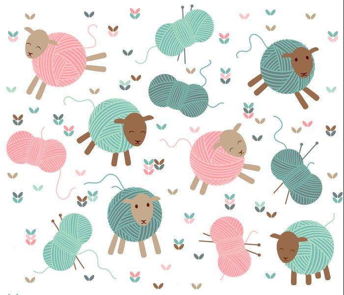 Knitting Art Print : Knitting sheep art print by heleen van buul society
