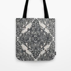 Charcoal Lace Pencil Doodle Tote Bag