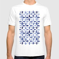 Imperfect Geometry Blue Petal Grid  Mens Fitted Tee White SMALL