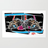 Buffalo Brawl 2 Art Print