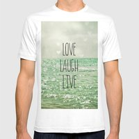 Love Laugh Live Mens Fitted Tee White SMALL