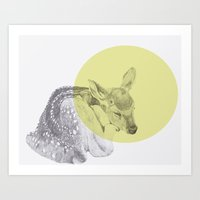 sleep tightly deer Art Print