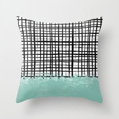 Mila - Grid And Mint -  … Throw Pillow