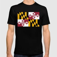 State flag of Flag of Maryland - Authentic version Mens Fitted Tee Black SMALL