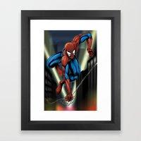 Sharp Spidey Swing Framed Art Print