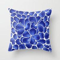 Hibiscus Animal: China Blue Throw Pillow