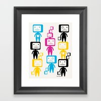 Four Colour Block Heads Framed Art Print