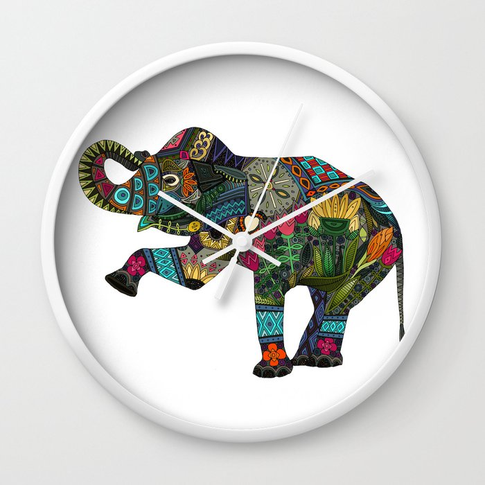 asian elephant white Wall Clock