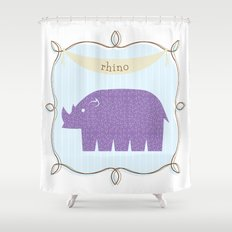 Fun at the Zoo: Rhino Shower Curtain