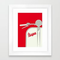 MY VESPA - FROM ITALY WITH LOVE - RED Framed Art Print