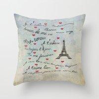 Paris Amour Valentines Design  Throw Pillow