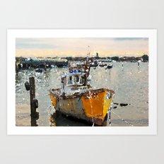 Swaying boat at sea Art Print