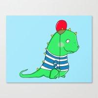 Jolly green party Dinosaur Canvas Print