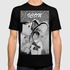 Audrey Hepburn ICONIC ICON BEAUTY SCENE SMALL Black Mens Fitted Tee