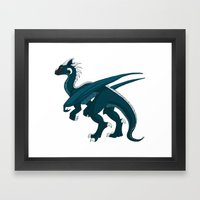 Teal Dragon Framed Art Print