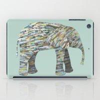 Elephant Paper Collage in Gray, Aqua and Seafoam iPad Case