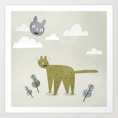 Cat in the Sky. Art Print