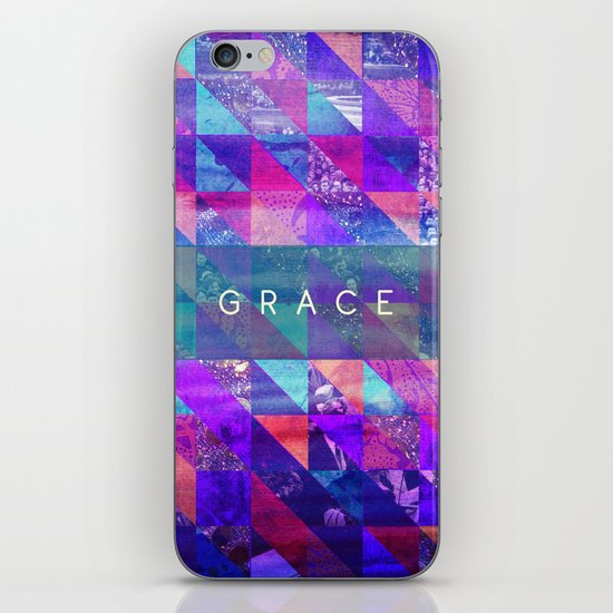"2 Corinthians 12:9 ""Grace"" (purple triangles) iPhone & iPod Skin"