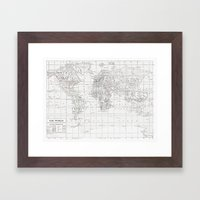 World Map ~ White On Whi… Framed Art Print
