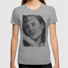 Angelina Jolie Traditional Portrait Print Womens Fitted Tee Athletic Grey SMALL