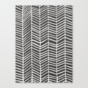 Herringbone – Black & White Canvas Print