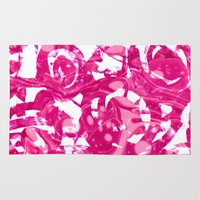abstract pink floral Rug