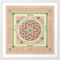 Terra and Turquoise Possibilities Mandala Art Print
