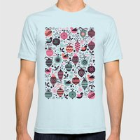 Birds and Baubles  Mens Fitted Tee Light Blue SMALL
