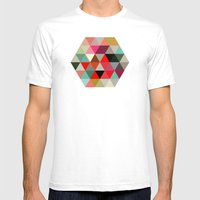 Geo Hex 03. Mens Fitted Tee White SMALL