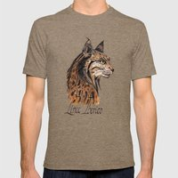Iberian Lynx Profile Mens Fitted Tee Tri-Coffee SMALL
