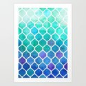 Emerald & Blue Marrakech Meander Art Print