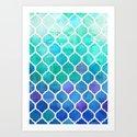 Emerald & Blue Marrakech Meander Art Print