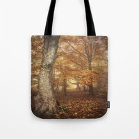 Foggy Autumn Woods Tote Bag