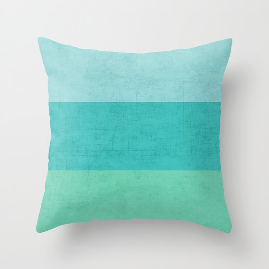 three stripes - teal Throw Pillow