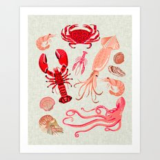 Crustaceans sea life illustration by Andrea Lauren  Art Print