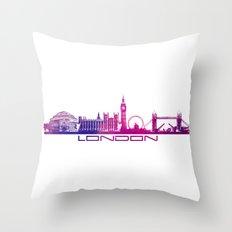 London Skyline City Pink Throw Pillow