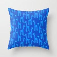 Giraffes-Blue Throw Pillow