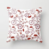 Bikes And Coffee Throw Pillow