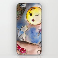 Love Cat and Moon iPhone & iPod Skin
