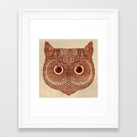 Framed Art Print featuring Owlustrations 2 by Colin Spence Design