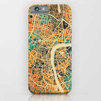 iPhone Cases featuring London Mosaic Map #3 by Map Map Maps