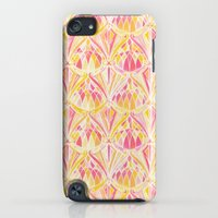 iPod Touch Cases featuring Art Deco Pattern in Pink and Orange by micklyn