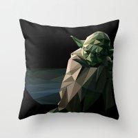 Geometric Yoda Throw Pillow