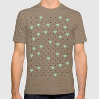Pin Point Hearts Mint Mens Fitted Tee Tri-Coffee SMALL